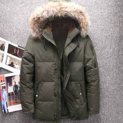 Зимние куртки на утином пуху с капюшоном из натурального меха, мужские теплые пуховики высокого качества, мужские повседневные зимние куртки-пуховики, Jk-633