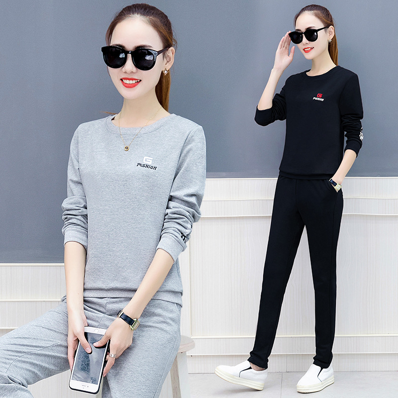 Sports Set WOMEN'S Dress Spring And Autumn Hoodie 2020 New Style Korean-style Casual Wear Large Size Slimming Trendy Two-Piece S