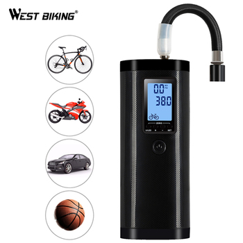 WEST BIKING Max 100 PSI Smart Bike Pump Portable Air Electric Inflator Cycling Pump Bicycle Pumps With Backlit LCD Screen