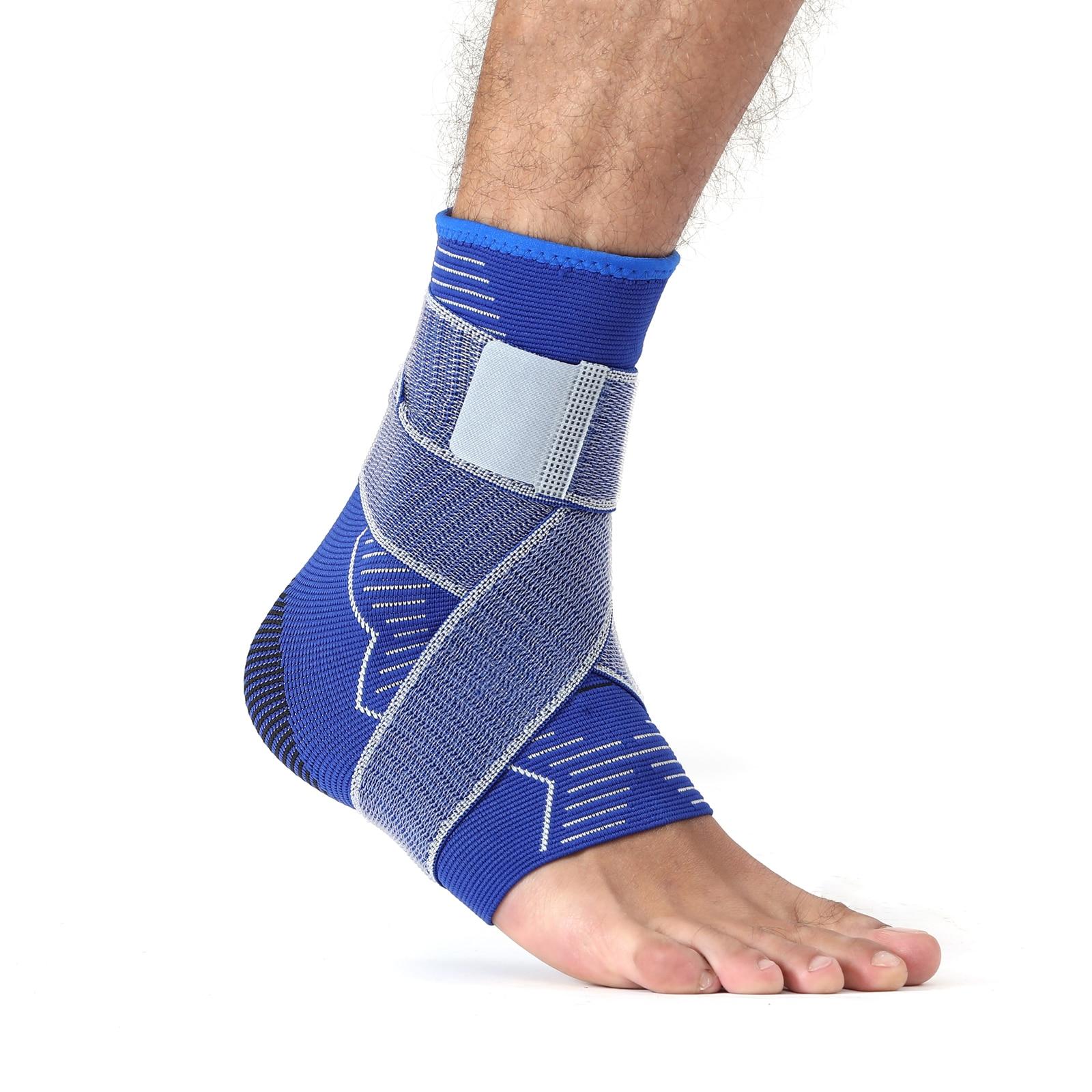 Azul novo tricô compressão tornozelo suporte manga cinta, proteção para os pés com alça antiderrapante, para esportes fitness, homem e mulher
