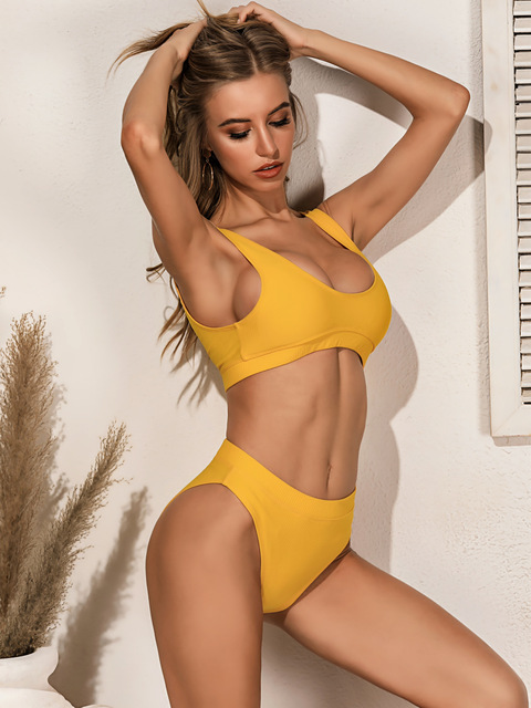 Qeils High Quality Bikini 2021 Women Solid Yellow Push Up High Waist Swimsuit Bathers Bathing Suit Padded Cut Out Swimwear 2