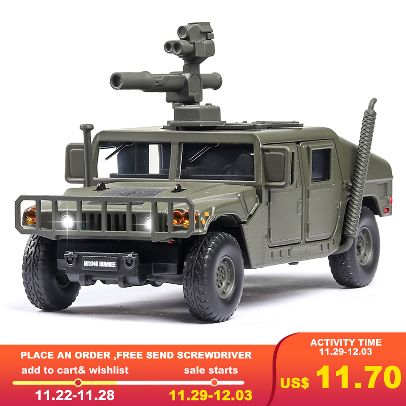 Armored Vehicles For Sale >> 1 32 Hummer M1046 Military Car Model Explosion Proof Armored Vehicle With Sound Light Alloy Toy Car Model Diecast Toy Vehicles Best Deal Black Friday