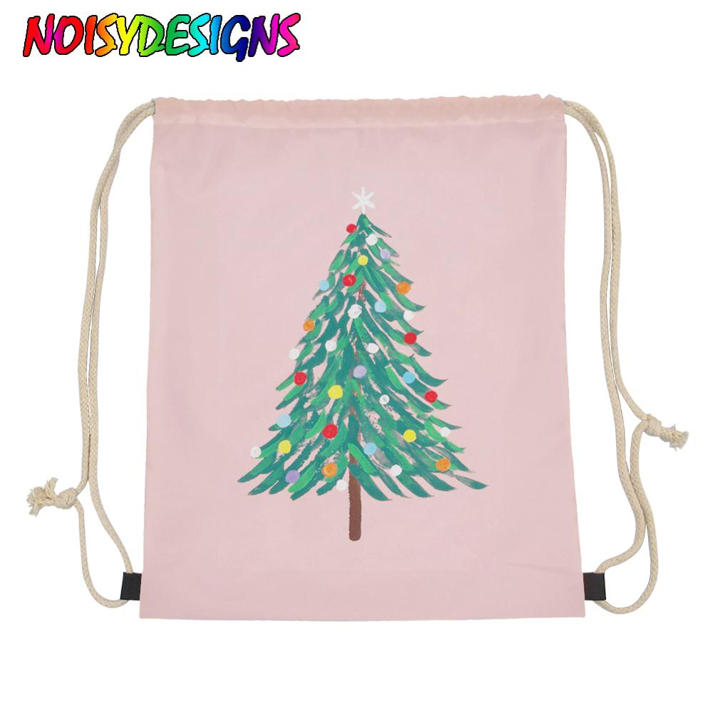 NOISYDESIGNS Christmas Tree Drawstring Bag Small Casual Girl Boys Female String Backpack Shoes Clothe Package School Supplies