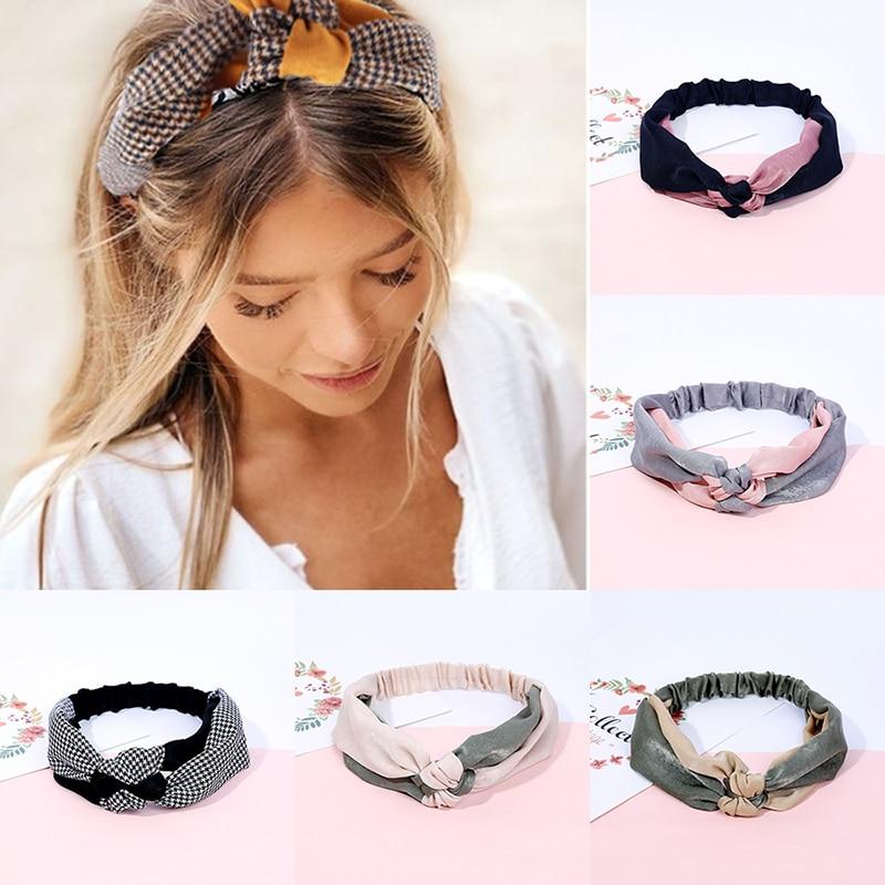 Fashion Women Elegant Soft Headband Vintage Cross Knot Elastic Hair Bands  Solid Girls Hairband Hair Accessories