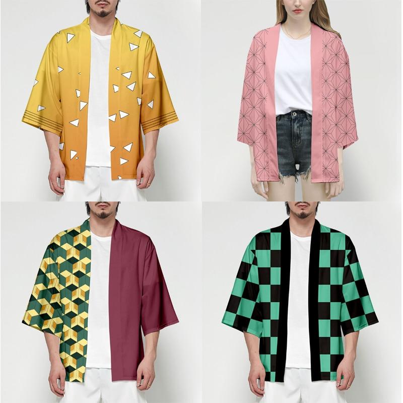 Anime demônio slayer kimetsu não yaiba tanjiro kamado cosplay traje homem quimono plus size jaquetas festa de halloween para mulher ts015
