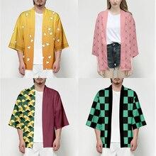 אנימה שד סלייר Kimetsu לא Yaiba Tanjiro קאמאדו Cosplay תלבושות גברים קימונו בתוספת גודל מעילי ליל כל הקדושים מפלגה לנשים TS015
