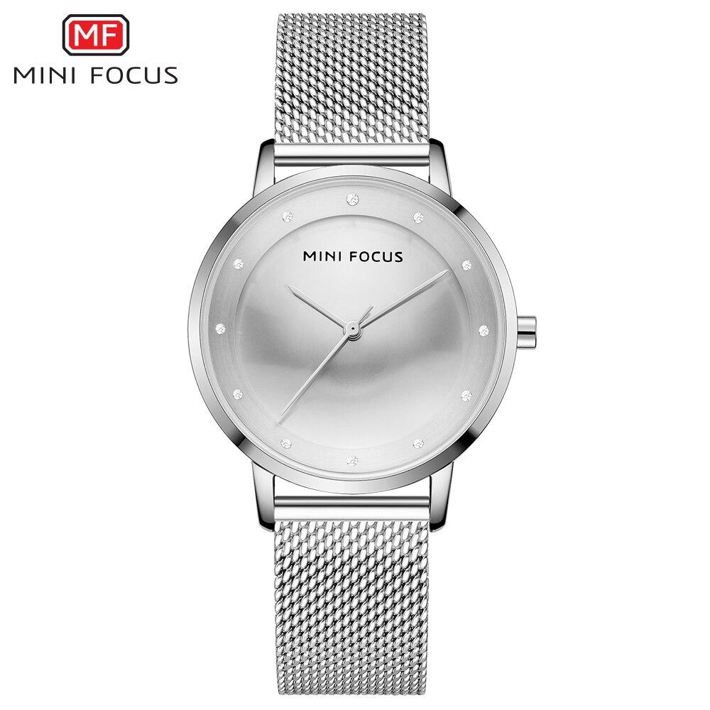 MINIFOCUS Luxury Fashion Women Creative Watch Rhinestones Lady Quartz Watches Waterproof Steel Mesh Band Wristwatch Girl Reloj