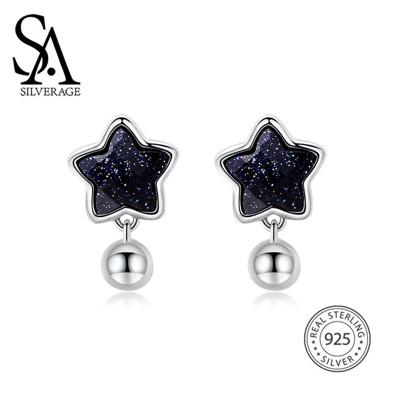 SA SILVERAGE Vintage 925 Sterling Silver Earrings Female 925 Silver Star Stud Earrings for Women Fine Jewelry Black