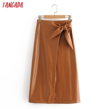 Tangada women bow pu leather midi skirt strethy waist 2020 Autumn Winter office