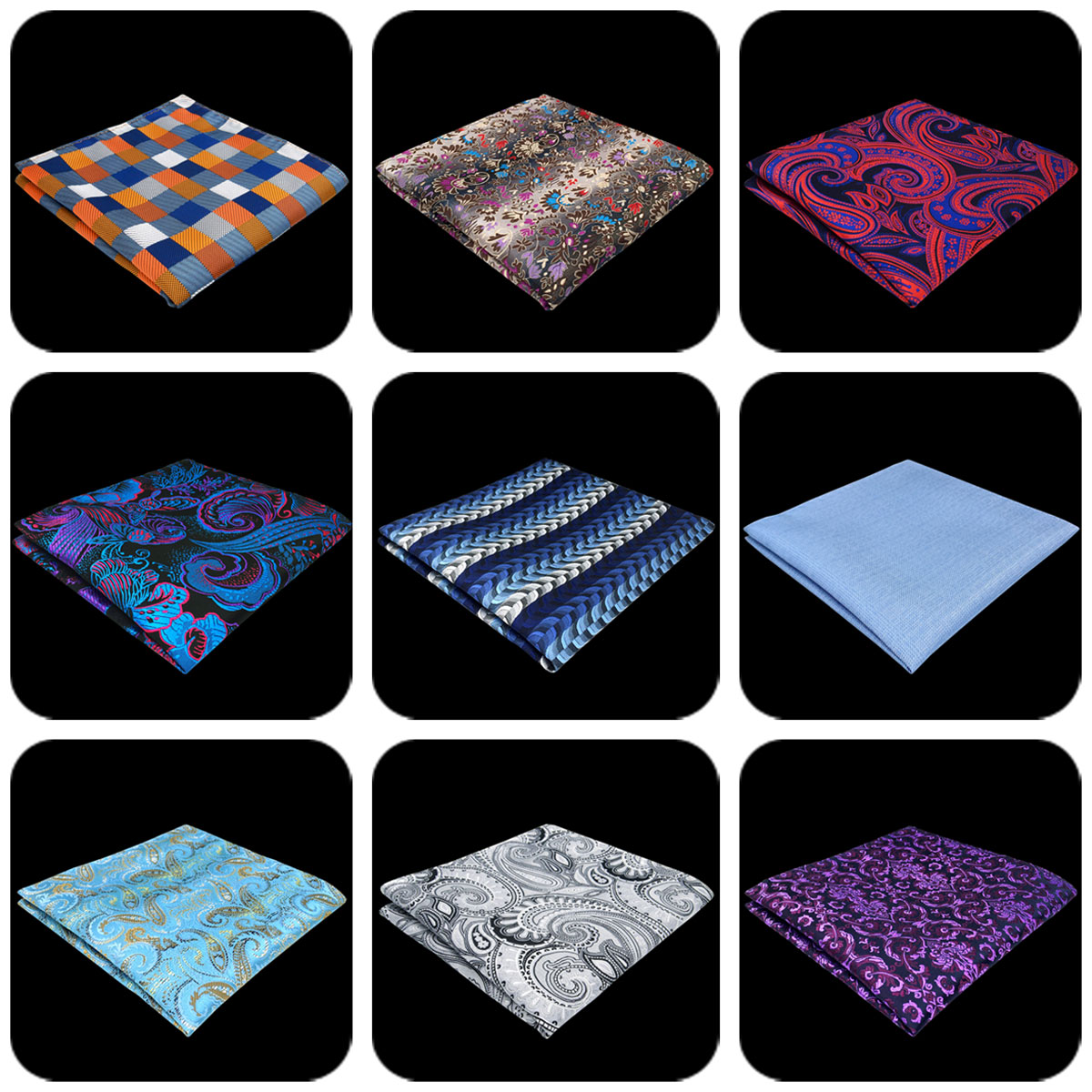 Paisley Dot Checkes Handkerchief Party Mens Pocket Square Classic Silk Fashion Hanky Party Wedding