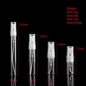 Image 2 - 50pcs/lot 2ML 3ML 5ML 10ML Clear Black Glass Spray Bottle Black Perfume Atomizer Mini Sample Test Tube Bottle Thin Glass Vials