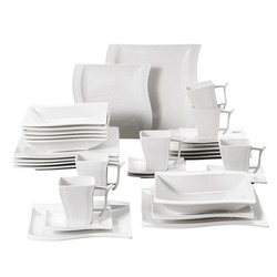 MALACASA Serie Flora 30 Stück Weiß Porzellan Abendessen Set mit 6 Stück Tassen, Untertassen, dessert Suppe Abendessen Platten Service 6 Person