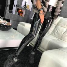 ATHVOTAR Women Black PU Leather Leggings Sexy High Waist Elastic Skinny Push Up Leggings Stretch Jeggings Women Legins