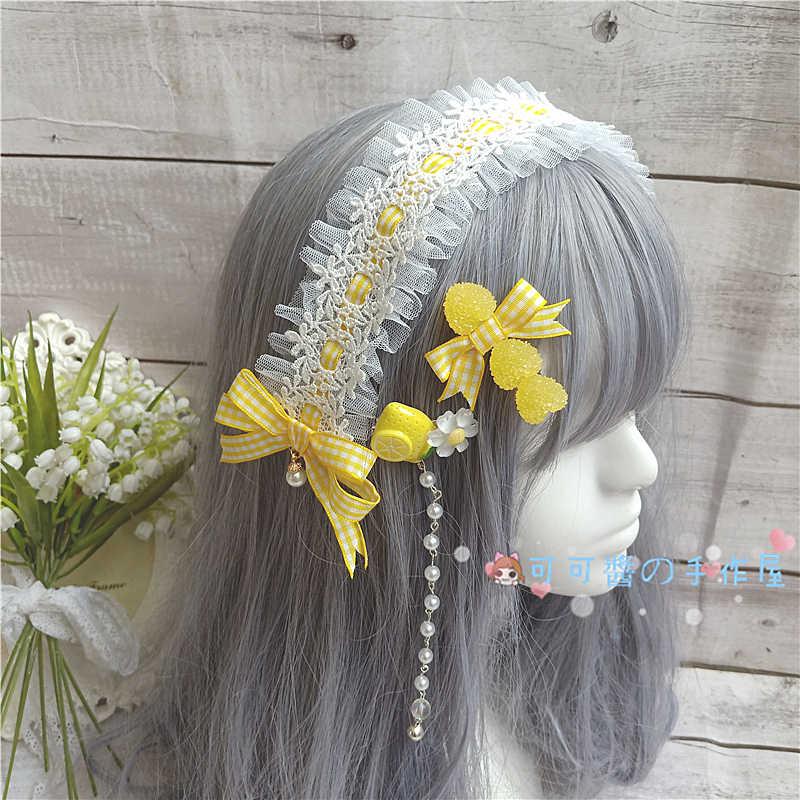 레몬 옐로우 사이드 클립 kc 소프트 소녀 일본식 수제 헤어 액세서리 로리타 Loli Barrettes 헤어 밴드 머리 장식