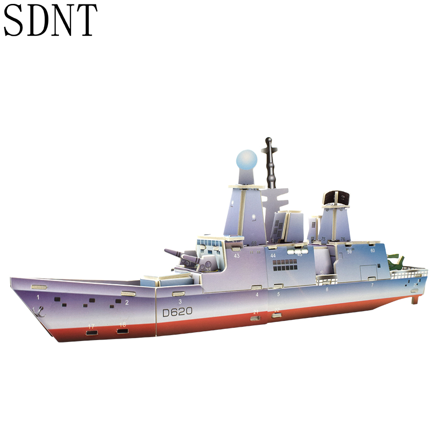 Ship 3D Model Kids Puzzles Toys For Boys Battleship Cardboard Building Model Kits Game Educational Toys For Children Hobby Gift