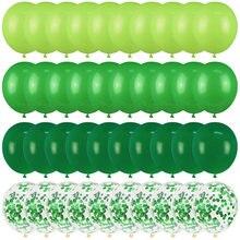 40 Uds verde globos de Confetti metalizado globo selva Safari Animal decoraciones para fiesta de cumpleaños, niños, niño, favores de la ducha de bebé
