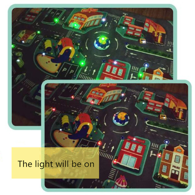 LED Children Educational Kids Rug Traffic Urban Road Carpet Baby Play Mat Crawling Pad Infant Non-slip Mats Light in the Dark