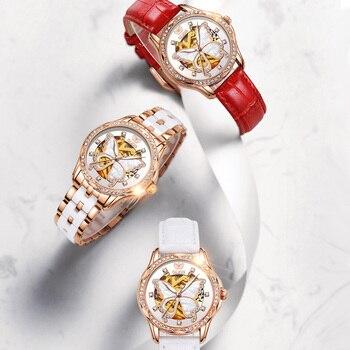 OLEVS  Mechanical Women Watch Fashion Switzerland Luxury Brand Ladies WristWatch Automatic Ceramic Hollow Design montre femme 4