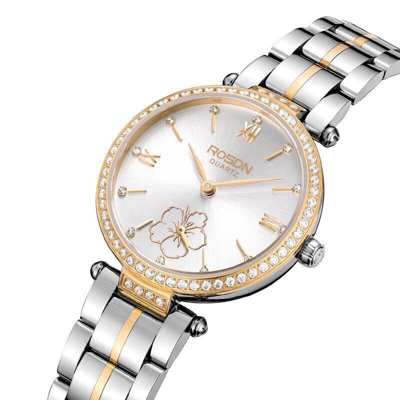 Luxury Brand ROSDN Women's Watches Japan Quartz Movement Sapphire Watch Lady 50M Waterproof Diamond 7 mm Ultra-thin Watch R3215