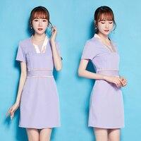 2019 nurse uniform hospital doctor short sleeve medical clothing beautician women female work dress beauty salon spa uniforms