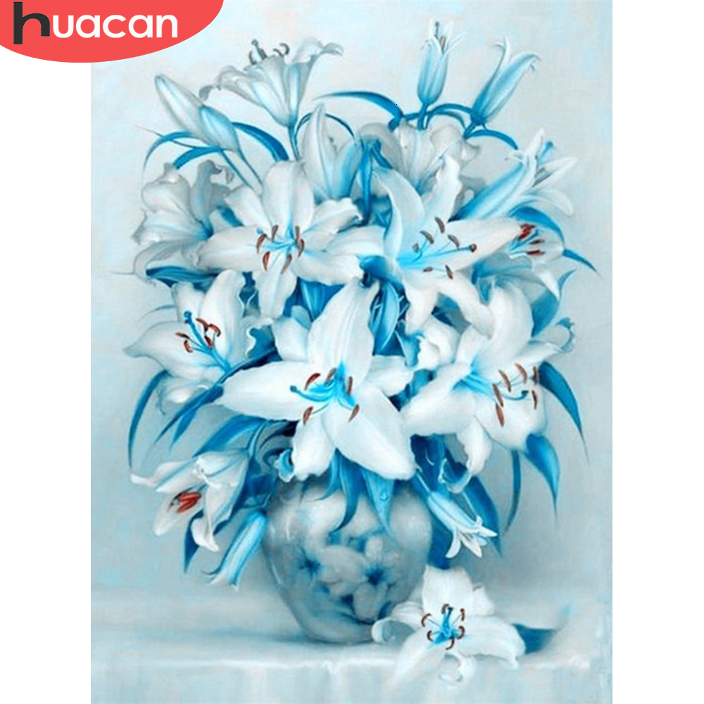 HUACAN Painting By Numbers Flower Lily HandPainted Art Dawing On Canvas Picture Kits DIY Home Decoration Gift