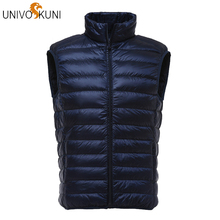 UNIVOS KUNI 2019 New Autumn Winter Fashion Casual Men Jacket Vest 90 White Duck Down Windproof Warm Men Down Vest Plus 3XL J299 cheap REGULAR zipper Sleeveless NONE STANDARD Broadcloth NYLON Polyester Viscose 100g-150g Solid 0 24kg Black Sky Blue Orange Silver Grey Army Green Wine Red Navy