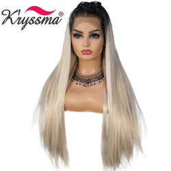 Kryssma 13x6 Lace Ombre Blonde Wigs Synthetic Lace Front Wig Dark Root Straight Cosplay Wig For Women Lace Front Wigs Heat OK