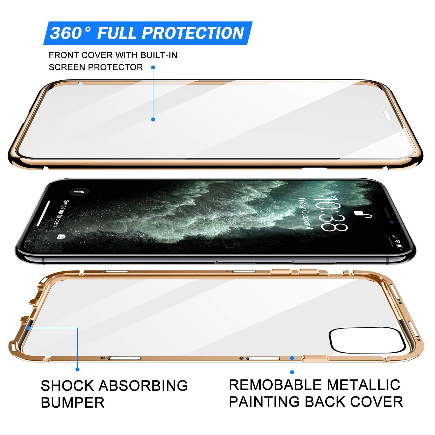 Magnetic Protective Case For IPhone 12 11 Pro XS MAX XR X 8 7 Plus With Double-Sided Tempered Glass Metal Frame Phone Cover 4