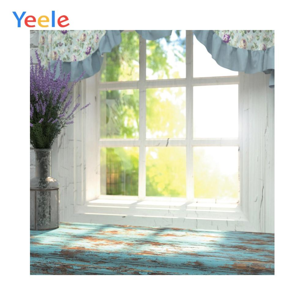 Yeele White Window Boards Green Bokeh Baby Child Portrait Photo Backdrop Personalized Photography Background for Photo Studio