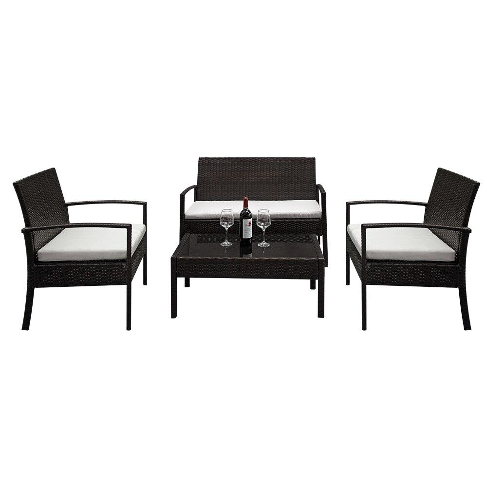 US Warehouse Bedroom Sofa Set With 3 Chair 1 Table Modern Design Cotton Fabric Frame Soft Sponge Living Room Sofa Set