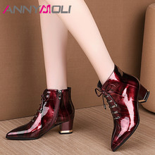 Купить с кэшбэком ANNYMOLI Winter Ankle Boots Women Patent Leather Bow Square High Heels Short Boots Zipper Pointed Toe Shoes Female Fall Size 42
