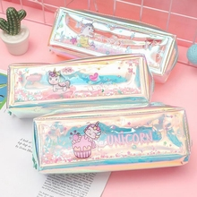 Unicorn Pencil Case Laser oil Estuches Holographic for Girls Boys Kawaii Box Bag School Supplies Stationery