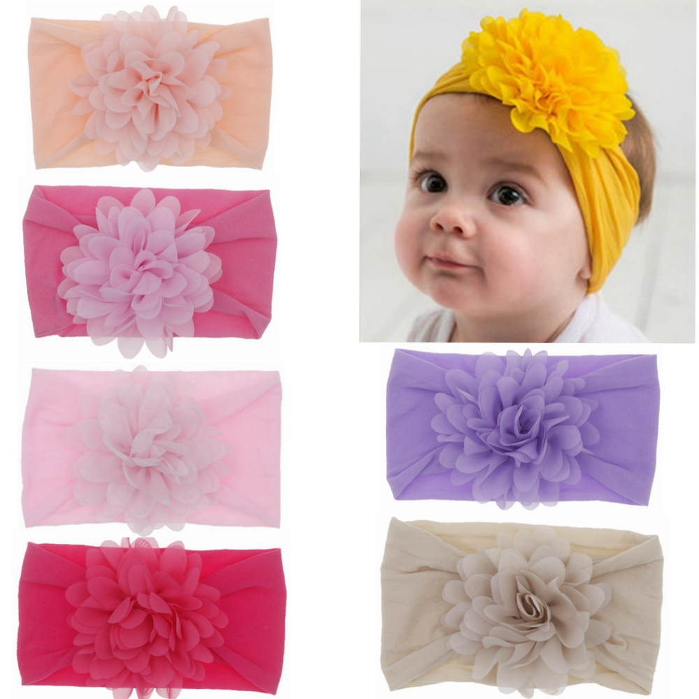 Baby Headband Nonly Big Chiffon Flower Headbands Bow Hair Band Newborn Girl Toddler Turban Head Wrap Children Hair Accessories