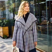 L-4XL Plus size Autumn Women Trench Coat Vintage Plaid Turn Down Collar Long Sleeve Outwear Office Lady Large Size Coats