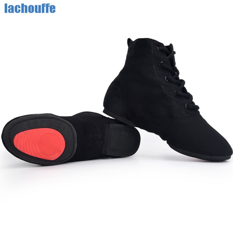 Dance Shoes Boot Boys Men Soft /Rubber Sole Dancing Shoes Women Jazz/Salsa/Ballroom dance Shoes Ladies Red/Black Canvas EU30-45 image