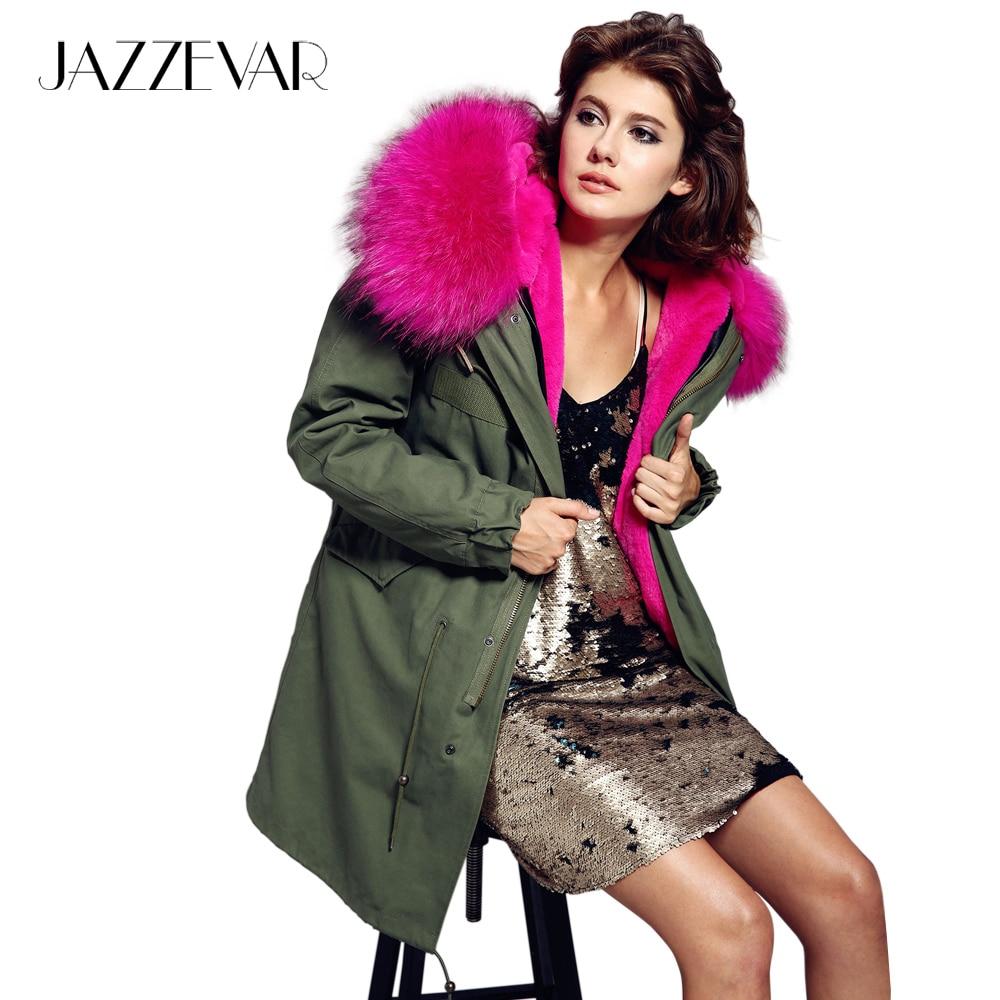 JAZZEVAR 2019 revestimento das mulheres do exército verde cor Grande de pele de guaxinim com capuz parkas outwear longo forro destacável jaqueta de inverno