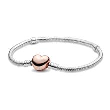 Pan pulseira novos momentos pulseira de prata chapeamento de ouro em forma de coração ajustável charme pulseira de jóias inoxidável mulher