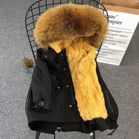 2019 Winter Boys Girls Fur Parka Coat Kids Real Fur Collar Jacket Zipper Children Overcoats Natural Fur Family Matching Clothes