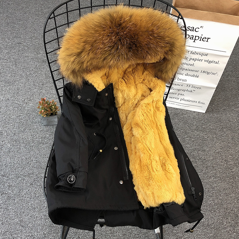 2019 hiver garçons filles fourrure Parka manteau enfants réel fourrure col veste Zipper enfants pardessus naturel fourrure famille correspondant vêtements