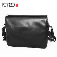 Кожаная сумка на плечо aetoo простая модная вместительная мессенджер