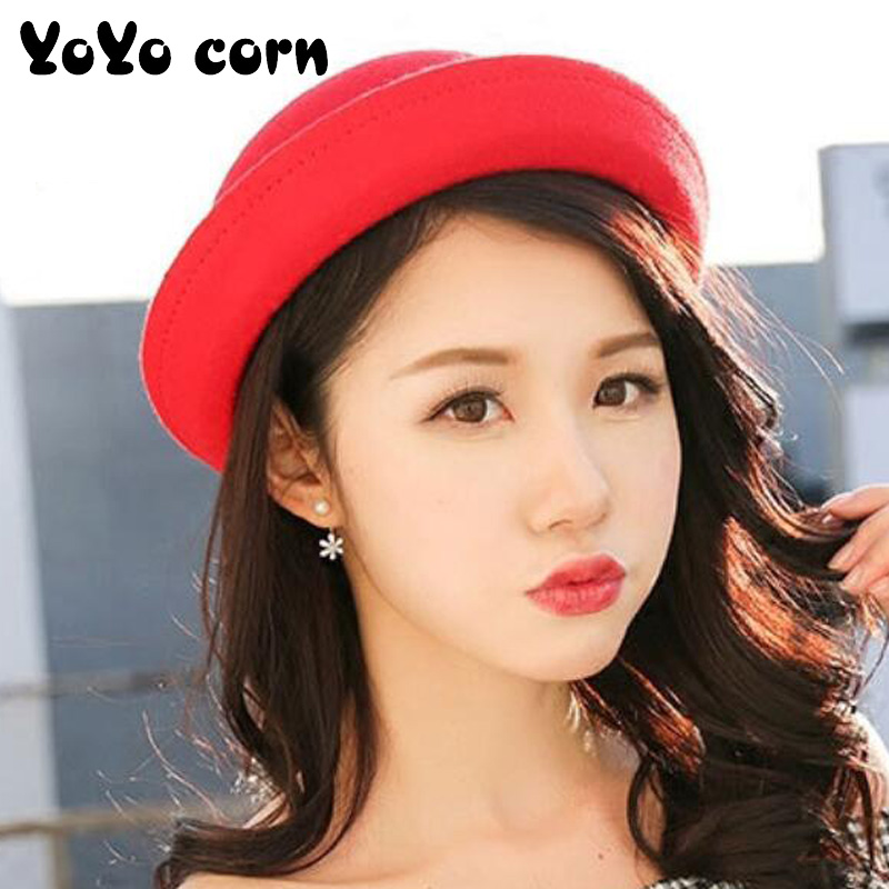 YOYOCORN  Not Deformed Fedoras Caps For Women Winter Fashion Warm Wool Felt Women's Fedoras Hats Retro Vintage Animal Cap