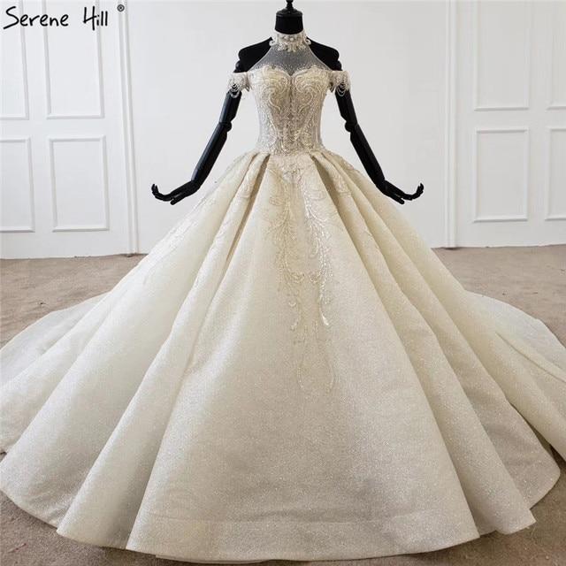 Champagne Halter sin mangas sexy vestido de novia 2020 con cordones de lujo lentejuelas vestido de novia HX0054 Cusotm hecho