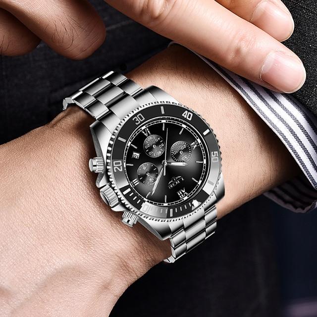 Фото часы наручные lige мужские кварцевые модные спортивные водонепроницаемые