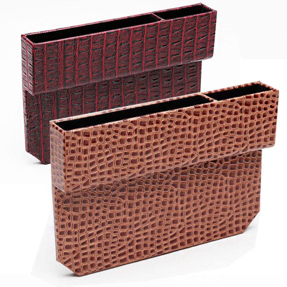 Car Driver/ Passenger Seat Crevice Storage Box For Mercedes Benz HondaToyota Organizer Box Stone Crocodile Design PU Leather
