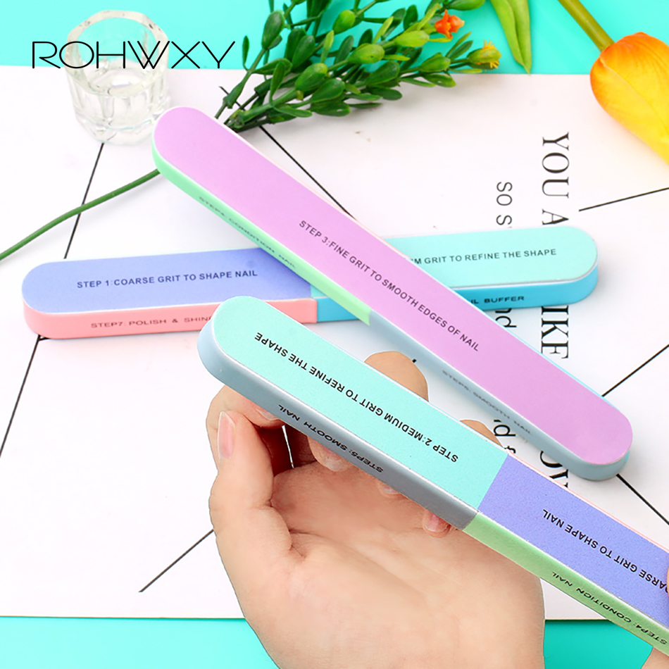ROHWXY Nail Files For Nail Art Brush Durable Buffing Grit Sand Fing Nail Art Tool Accessories Sanding File UV Gel Polish Tools