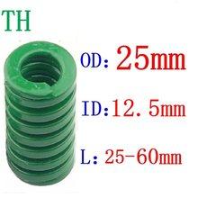 1 pces a compressão de carimbo espiral da carga pesada verde morre diâmetro exterior 25mm diâmetro interno 12.5mm comprimento 25-60mm da mola