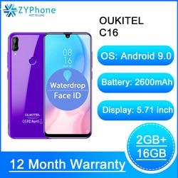 OUKITEL C16 5,71 дюйм, ВЫСОКАЯ ЧЁТКОСТЬ, 19:9 в виде капли воды, смартфон сл сканером отпечатков пальцев Android 9,0 MT6580P 2G Оперативная память 16G Встроенная пам...