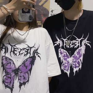 Harajuku Vintage butterfly Letter Print top Hip Hop Gothic Ulzzang New Summer Streetwear Fun chic ins casual Loose women T-Shirt
