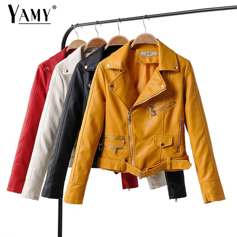 Autumn   leather   jacket women zipper faux   suede   jacket long sleeve vintage coat turn down collar biker jacket with sashes