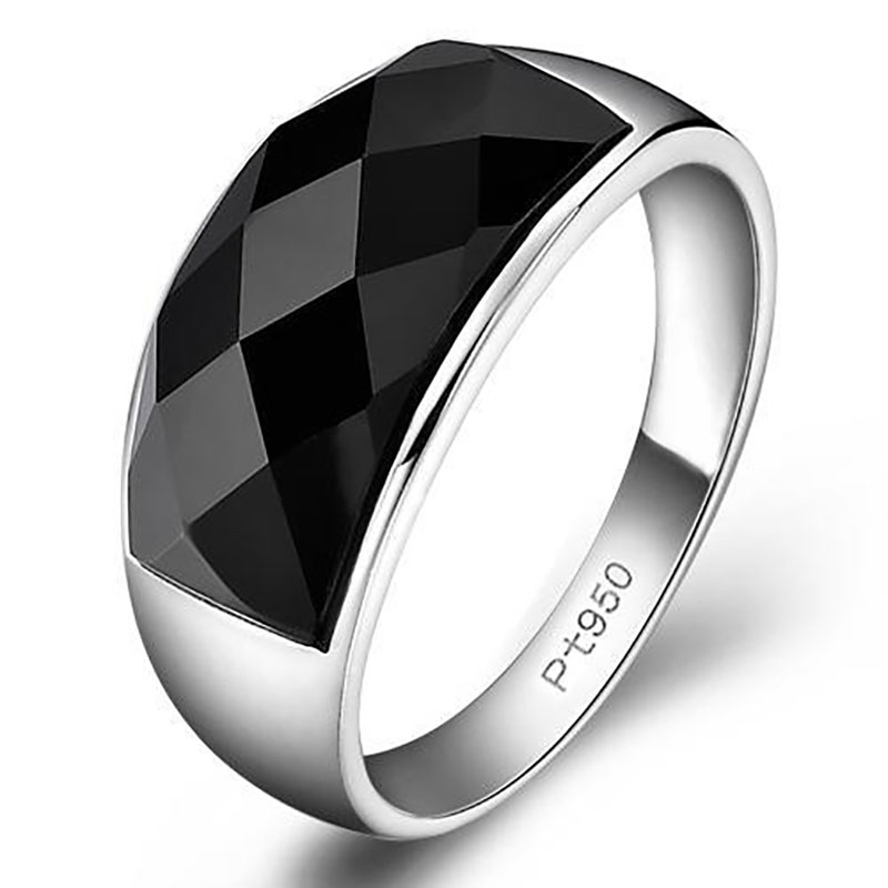 925 silver advanced creative geometric diamond inlaid black agate gemstone men's domineering exaggerated opening adjustable ring